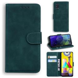 Retro Classic Skin Feel Leather Wallet Phone Case for Samsung Galaxy M31 - Green