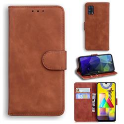 Retro Classic Skin Feel Leather Wallet Phone Case for Samsung Galaxy M31 - Brown