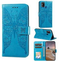 Intricate Embossing Rose Flower Butterfly Leather Wallet Case for Samsung Galaxy M31 - Blue