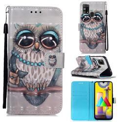 Sweet Gray Owl 3D Painted Leather Wallet Case for Samsung Galaxy M31