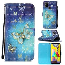 Gold Butterfly 3D Painted Leather Wallet Case for Samsung Galaxy M31