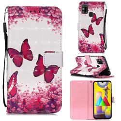 Rose Butterfly 3D Painted Leather Wallet Case for Samsung Galaxy M31
