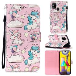 Angel Pony 3D Painted Leather Wallet Case for Samsung Galaxy M31