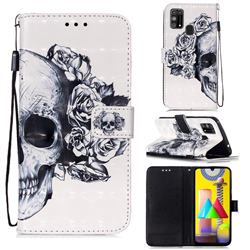 Skull Flower 3D Painted Leather Wallet Case for Samsung Galaxy M31