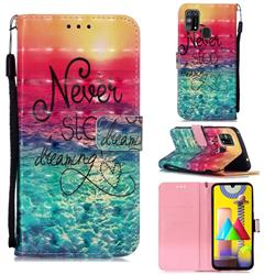 Colorful Dream Catcher 3D Painted Leather Wallet Case for Samsung Galaxy M31