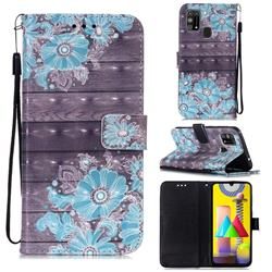 Blue Flower 3D Painted Leather Wallet Case for Samsung Galaxy M31