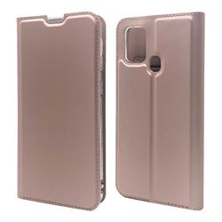 Ultra Slim Card Magnetic Automatic Suction Leather Wallet Case for Samsung Galaxy M31 - Rose Gold