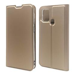Ultra Slim Card Magnetic Automatic Suction Leather Wallet Case for Samsung Galaxy M31 - Champagne
