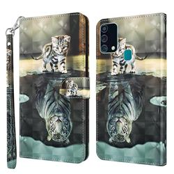 Tiger and Cat 3D Painted Leather Wallet Case for Samsung Galaxy M31