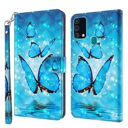 Blue Sea Butterflies 3D Painted Leather Wallet Case for Samsung Galaxy M31