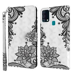 Black Lace Flower 3D Painted Leather Wallet Case for Samsung Galaxy M31