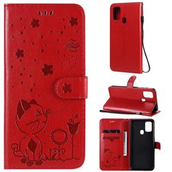 Embossing Bee and Cat Leather Wallet Case for Samsung Galaxy M31 - Red