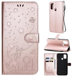 Embossing Bee and Cat Leather Wallet Case for Samsung Galaxy M31 - Rose Gold