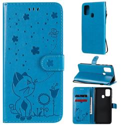 Embossing Bee and Cat Leather Wallet Case for Samsung Galaxy M31 - Blue