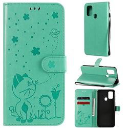 Embossing Bee and Cat Leather Wallet Case for Samsung Galaxy M31 - Green
