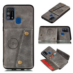 Retro Multifunction Card Slots Stand Leather Coated Phone Back Cover for Samsung Galaxy M31 - Gray