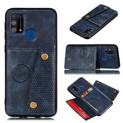 Retro Multifunction Card Slots Stand Leather Coated Phone Back Cover for Samsung Galaxy M31 - Blue