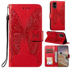 Intricate Embossing Vivid Butterfly Leather Wallet Case for Samsung Galaxy M31s - Red