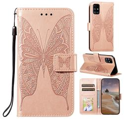Intricate Embossing Vivid Butterfly Leather Wallet Case for Samsung Galaxy M31s - Rose Gold