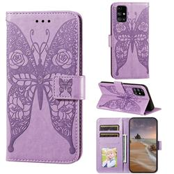 Intricate Embossing Rose Flower Butterfly Leather Wallet Case for Samsung Galaxy M31s - Purple