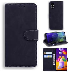 Retro Classic Skin Feel Leather Wallet Phone Case for Samsung Galaxy M31s - Black