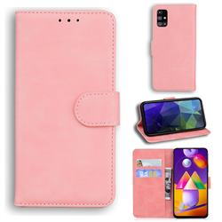 Retro Classic Skin Feel Leather Wallet Phone Case for Samsung Galaxy M31s - Pink
