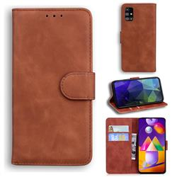 Retro Classic Skin Feel Leather Wallet Phone Case for Samsung Galaxy M31s - Brown