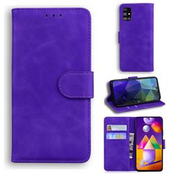 Retro Classic Skin Feel Leather Wallet Phone Case for Samsung Galaxy M31s - Purple