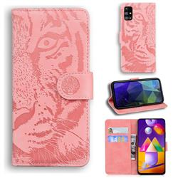 Intricate Embossing Tiger Face Leather Wallet Case for Samsung Galaxy M31s - Pink