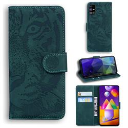 Intricate Embossing Tiger Face Leather Wallet Case for Samsung Galaxy M31s - Green