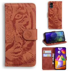 Intricate Embossing Tiger Face Leather Wallet Case for Samsung Galaxy M31s - Brown
