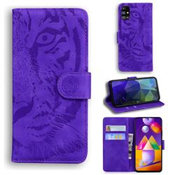 Intricate Embossing Tiger Face Leather Wallet Case for Samsung Galaxy M31s - Purple