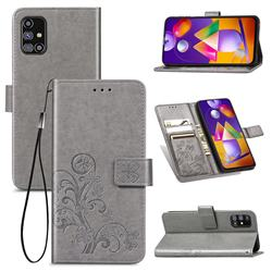 Embossing Imprint Four-Leaf Clover Leather Wallet Case for Samsung Galaxy M31s - Grey