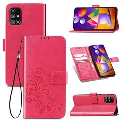 Embossing Imprint Four-Leaf Clover Leather Wallet Case for Samsung Galaxy M31s - Rose Red