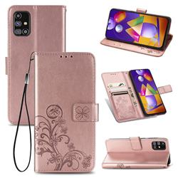 Embossing Imprint Four-Leaf Clover Leather Wallet Case for Samsung Galaxy M31s - Rose Gold