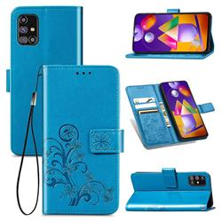 Embossing Imprint Four-Leaf Clover Leather Wallet Case for Samsung Galaxy M31s - Blue