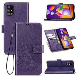 Embossing Imprint Four-Leaf Clover Leather Wallet Case for Samsung Galaxy M31s - Purple