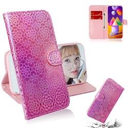 Laser Circle Shining Leather Wallet Phone Case for Samsung Galaxy M31s - Pink