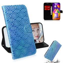 Laser Circle Shining Leather Wallet Phone Case for Samsung Galaxy M31s - Blue