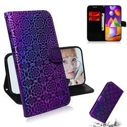Laser Circle Shining Leather Wallet Phone Case for Samsung Galaxy M31s - Purple