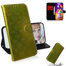 Laser Circle Shining Leather Wallet Phone Case for Samsung Galaxy M31s - Golden