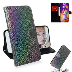 Laser Circle Shining Leather Wallet Phone Case for Samsung Galaxy M31s - Silver