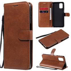 Retro Greek Classic Smooth PU Leather Wallet Phone Case for Samsung Galaxy M31s - Brown