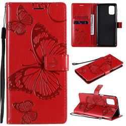 Embossing 3D Butterfly Leather Wallet Case for Samsung Galaxy M31s - Red