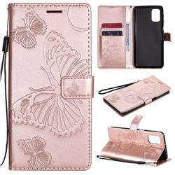 Embossing 3D Butterfly Leather Wallet Case for Samsung Galaxy M31s - Rose Gold
