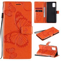 Embossing 3D Butterfly Leather Wallet Case for Samsung Galaxy M31s - Orange
