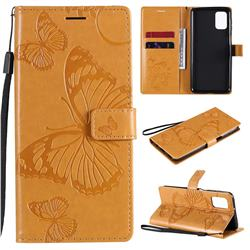 Embossing 3D Butterfly Leather Wallet Case for Samsung Galaxy M31s - Yellow