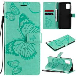 Embossing 3D Butterfly Leather Wallet Case for Samsung Galaxy M31s - Green