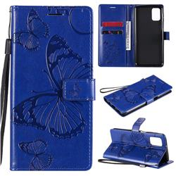 Embossing 3D Butterfly Leather Wallet Case for Samsung Galaxy M31s - Blue