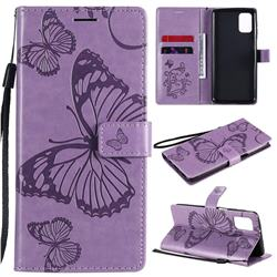 Embossing 3D Butterfly Leather Wallet Case for Samsung Galaxy M31s - Purple